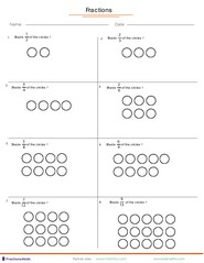 Fraction worksheets for children from kindergarten to 7th grades