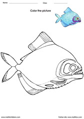 color a fish - Painting Worksheets For Kindergarten