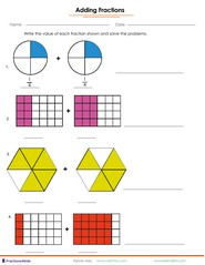 fraction worksheets for children from kindergarten to th grades adding fractions from parts