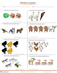 Fraction Worksheets For Children From Kindergarten To Th Grades Fractions Applied To Group Of Animals