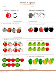 Fraction Worksheets For Children From Kindergarten To Th Grades Fractions Applied To Group Of Fruits