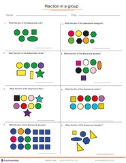 Fraction Worksheets For Children From Kindergarten To Th Grades Fractions In A Group Of Shapes