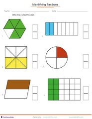 fraction worksheets for children from kindergarten to th grades identifying fractions