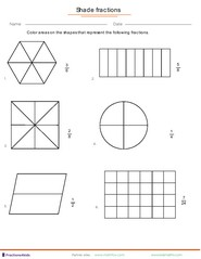 fraction worksheets for children from kindergarten to th grades fractions as part of whole